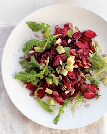 Beet, Avocado, and Arugula Salad with Sunflower Seeds: Recipes Featuring, Fun Recipes, Featuring Seasonal, Weight Loss, Low Calorie Produce, Fruits And Vegetables, Arugula Salad, Fresh Fruit