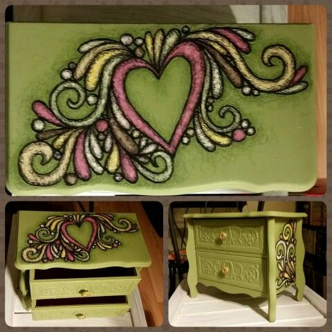 Jewelry box by Loveandtheart  Acrylic and handcut paper on wood  http://www.facebook.com/loveandtheart
