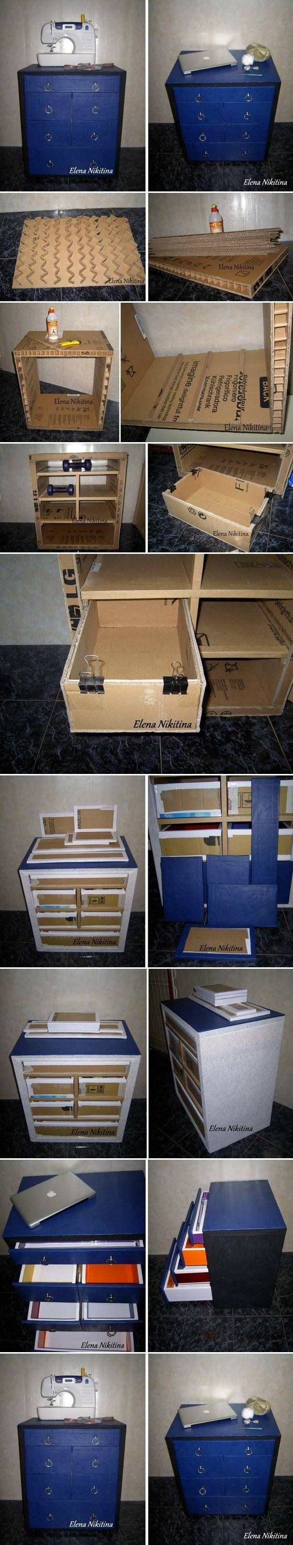 DIY Cardboard Chest with Drawers... Are you kidding me!? Who makes furniture out of cardboard!? I don't think I would but, it's pretty crazy clever.