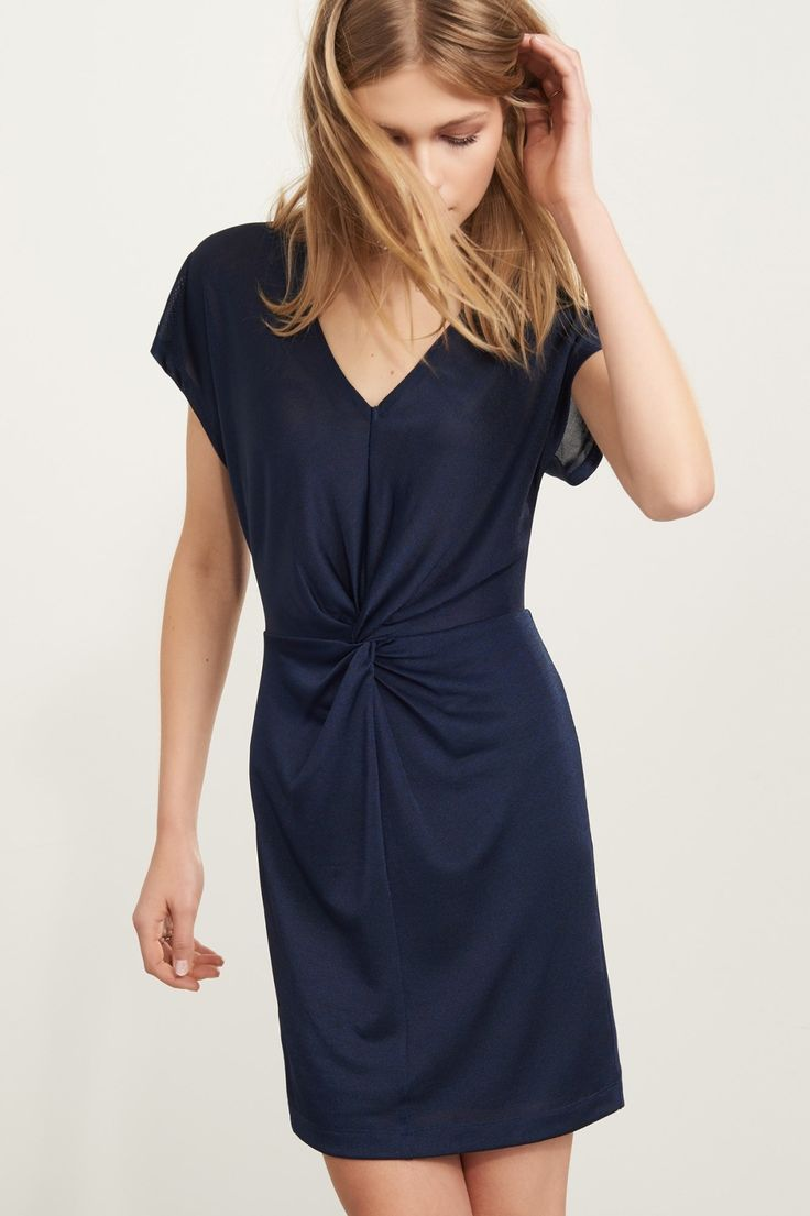 Business in the front, cutout in the back Knot Front Dress with Back Cutout