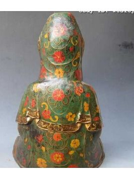 "Copper Brass CHINESE crafts decor ation Asian  17""Tibet Fane Folk classical Old Bronze cloisonne Bodhisattva Kwan-Yin Buddha #Affiliate"