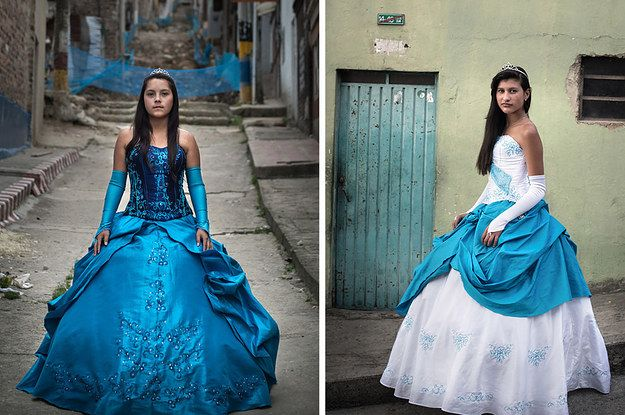 Posing in fairy-tale gowns with reality as a backdrop.