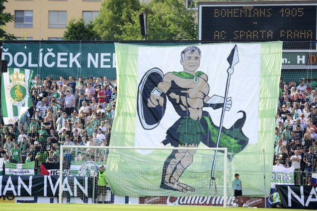 A Bohemians 1905 banner featuring actor Ivan Trojan, a fan and tireless campaigner on the Prague club's behalf