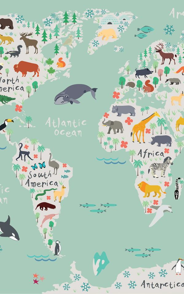 Papel pintado mapa infantil safari en 2019 art and - Papel pintado mapa ...
