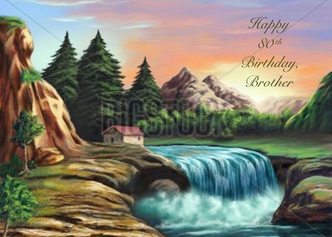 Happy 80th Birthday Brother Tranquil Waterfall Card Ad