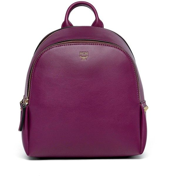 MCM Duchess Polke Studs Backpack (18,530 MXN) ❤ liked on Polyvore featuring bags, backpacks, backpack bags, day pack backpack, spike backpack, knapsack bag and purple backpack