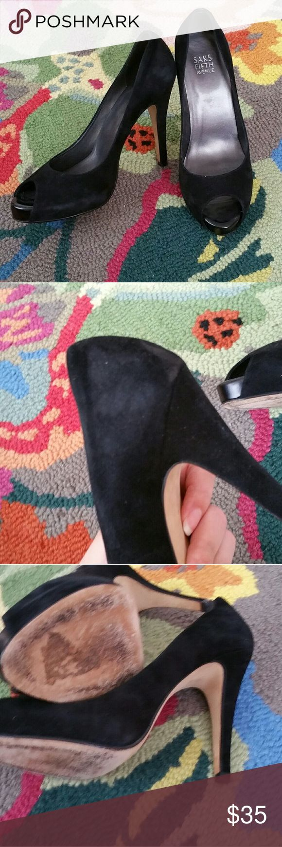 """Saks Fifth Avenue Black Suede High Heels I love these heels, they are so classic. But alas, they are definitely a true 9. I am an 8.5 and after literally only 1 wear with them slipping off constantly, they went back to my closet. I am the original purchaser, this was bought in store. I don't know if they are real suede, or just """"suede like"""" but they are super soft to the touch. Comes with original heel caps. In very good used condition. Saks Fifth Avenue Shoes Heels"""