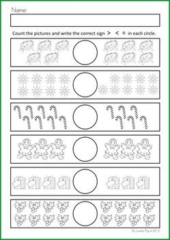 Math & Literacy Worksheets & Activities - Christmas {98 pages} A page from the unit: Christmas pictures Greater Than, Less Than, Equal To. Also includes worksheets with numbers.