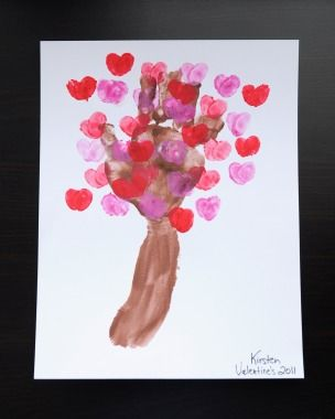Fingerpaint Love Blossom Tree | Valentines Crafts for Kids - hand print,