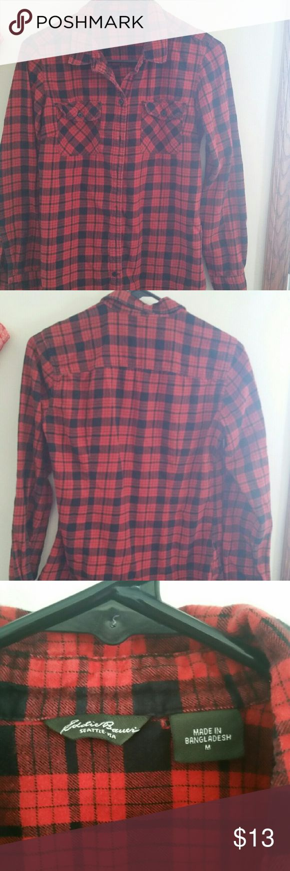 Eddie Bauer Women's Flannel Shirt Size M Red Black This is a gently worn flannel shirt from Eddie Bauer. It is a size Medium. It is red and black plaid and buttons up. There is no damage to the top. It is very clean and comes from a smoke free home. The top is 100% cotton. Thanks for looking! Eddie Bauer Tops Button Down Shirts