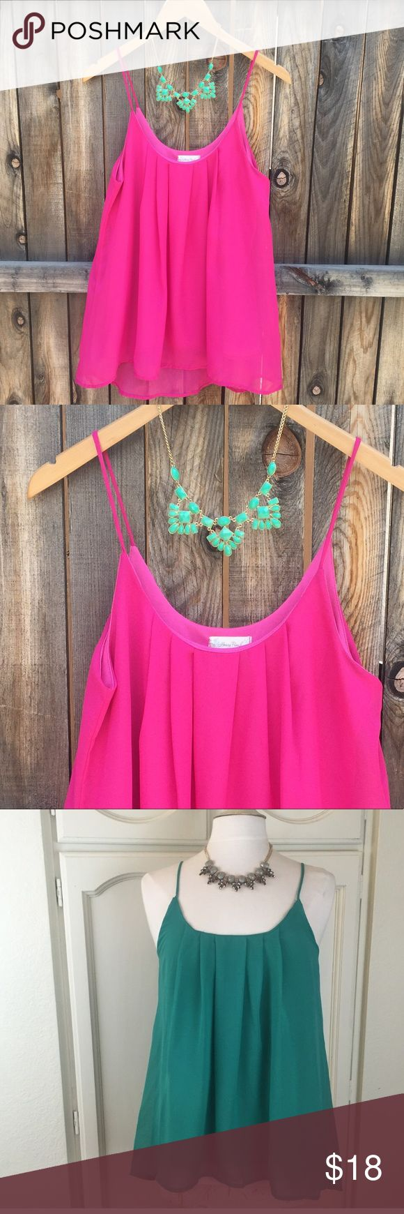 Hot Pink Chiffon Tank Perfect for summer in this bright pink and breathable material. Have other colors for sale too. This top is NWOT Honey Punch Tops Tank Tops