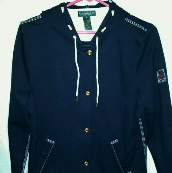 """S EUC RALPH LAUREN Nautical hoodie sweatshirt Women's Ralph Lauren Nautical hooded sweatshirt jacket  Size Small Color navy blue/White with gold accents  Two pockets Zip up with snaps No fading  Chest approx. 19.5"""" across Length measures 24.5"""" Worn once excellent used condition  Be sure to check out my closet. I'm clearing out a lot of inventory and will be adding new items daily. Ralph Lauren Jackets & Coats"""