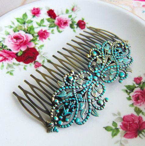Turkoois haarkam haaraccessoires voor bruiden bruidsmeisje bruiloft / Turquoise Aqua Wedding Hair Piece Bridal Hair Comb