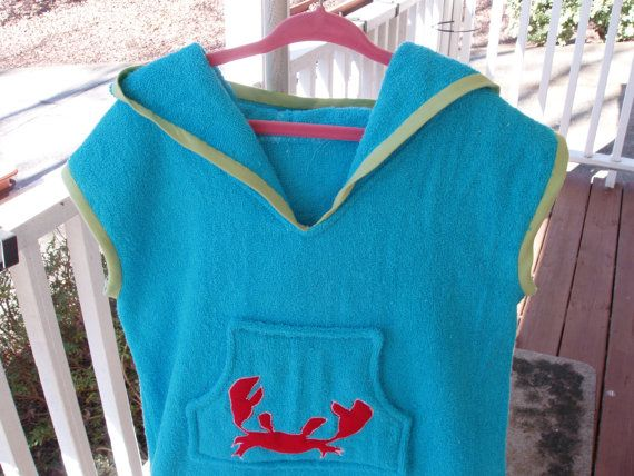 Girls' Hooded Swimsuit Coverup Ocean Blue Happy by sassyraggs