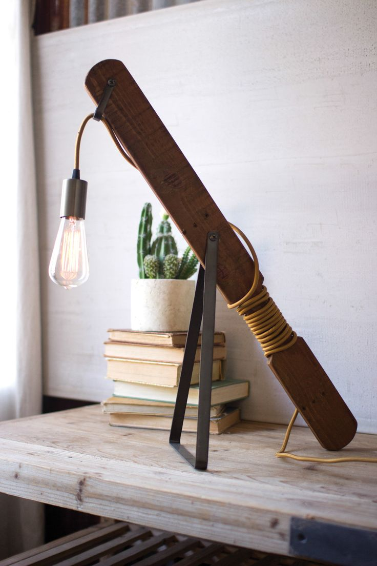 RECYCLED WOOD AND METAL TABLE LAMP