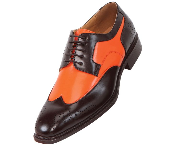 bolano mens two tone orange and brown oxford dress shoe