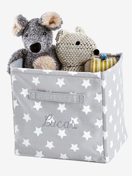 Caja de almacenaje de tela estampada - Amarillo Medio Estampado+Azul Claro Estampado+Gris / Estrellas+Rosa/Corazon+Verde/Estrellas - 15