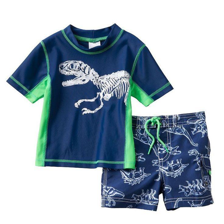 Baby Boy Carter's Dinosaur Rash Guard & Swim Trunks Set, Size: 12 Months, Blue (Navy)