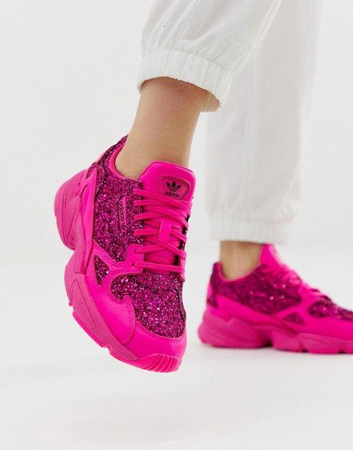 c1cfab45cfb adidas Originals Premium pink glitter Falcon trainers