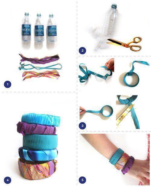 Brazaletes reciclados con botellas de plástico: Son unos hermosos brazaletes y pulseras hechos con botellas de plástico y tiras de tela.