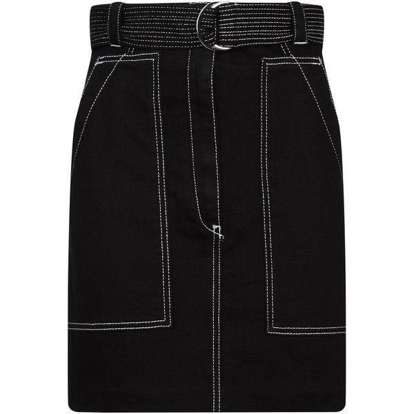 Sandro High Waist Denim Skirt (£175) ❤ liked on Polyvore featuring skirts, knee length denim skirt, sandro skirt, high waisted denim skirt, stretchy skirts and high-waist skirt