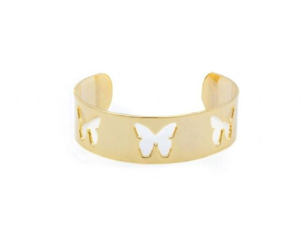 #annalouoflondon 14kt gold plated cuff with cut out butterflies. Size is slightly adjustable.