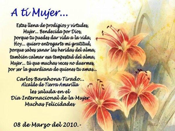 Frase Hermosa De Feliz Día De La Mujer Con Flores Imagenes