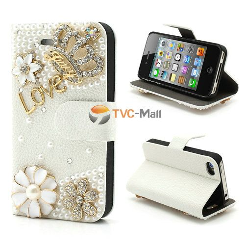 Luxury Diamond Pearl Flower Crown For iPhone 4 4S Card Wallet Leather Cover Case Stand - White / Gold