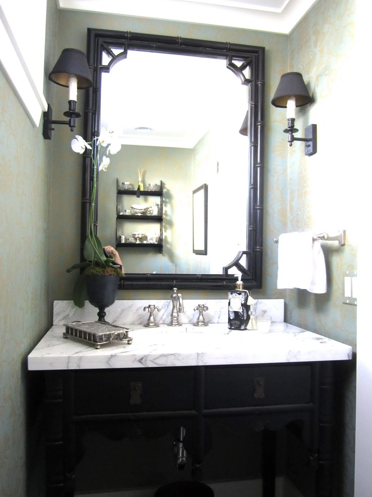 damask + black + marble in powder room