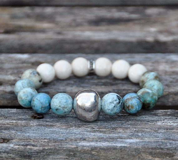 Gemstone and Silver Beaded Bracelet