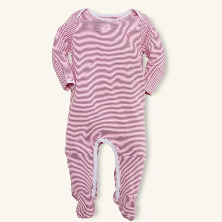 Ralph Lauren Layette Baby Paisley Pink Stripe Coverall Onesie