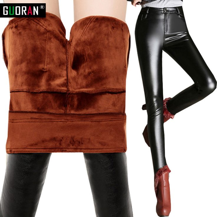 Winter warm thick Strench Plus Size PU Leather Pants women Skinny High Waist pant women trousers velvet Pantalon Cuero Mujer #Affiliate