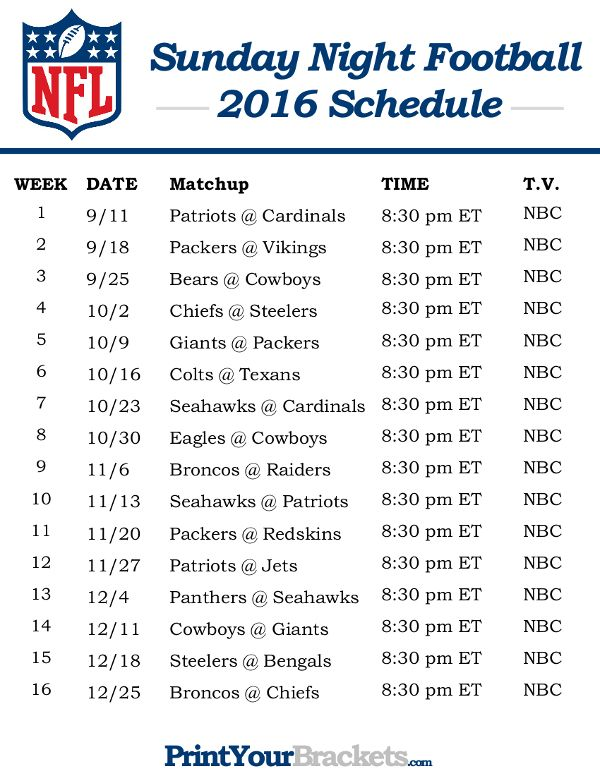 NFL Sunday Night Football Schedule 2016 - Printable
