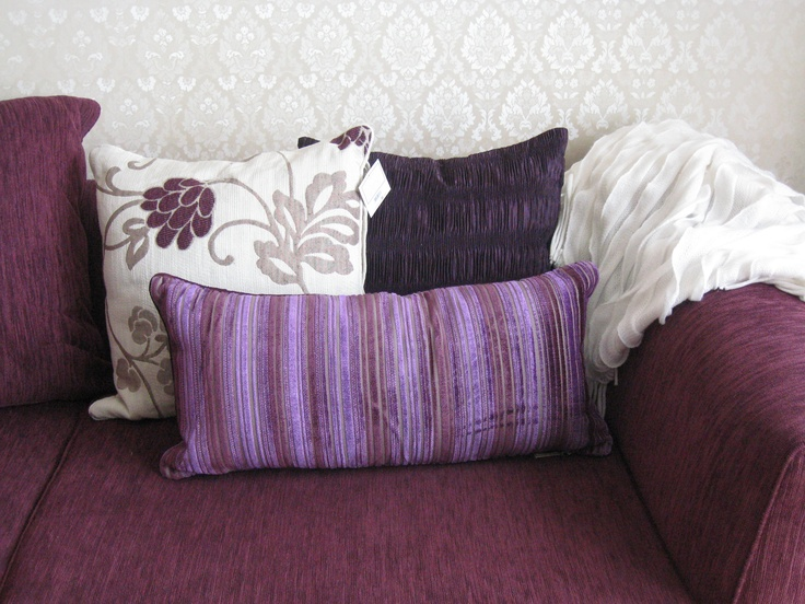 The Purple Trio from LLL with my cream throw - in my lounge on my purple couch - stunning