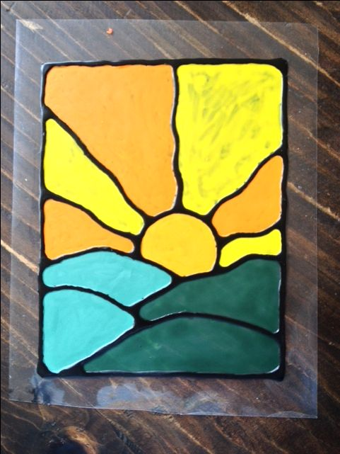 Fake Stained Glass Made With Glue And Acrylic Paint On A