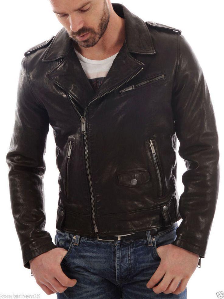 Mens black leather moto jacket