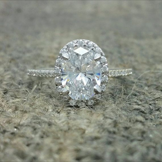 Forever Brilliant oval moissanite engagement ring. by CarrollPark