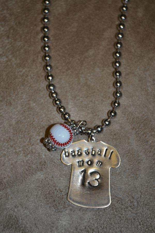 Custom Baseball Mom Jersey Necklace-baseball  mom  custom  necklace  stamped  metal