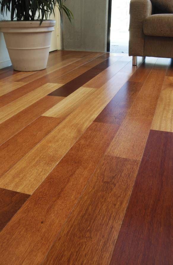 Idea: multicolor hardwoods would match dark baseboard/trim ...