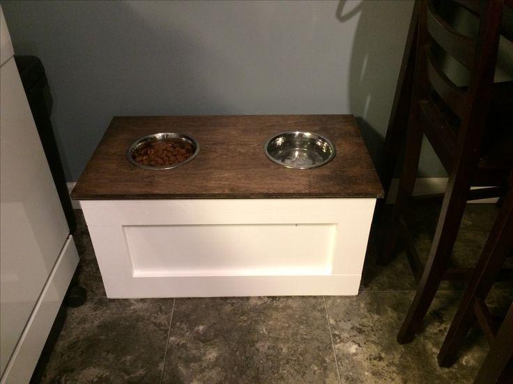 DIY Raised dog dish -instructions found on Pinterest
