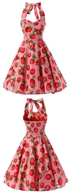 Women's Vintage Strawberry Print Halter A-line Dress