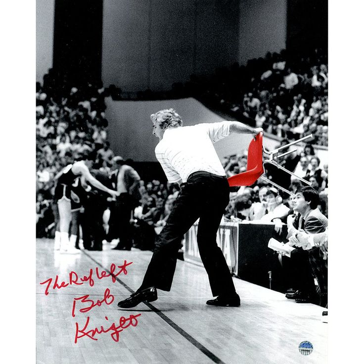 Bob Knight Signed Throwing Chair B&W w/ Red Chair 8x10 Photo w/ 'The Ref Left' Insc.