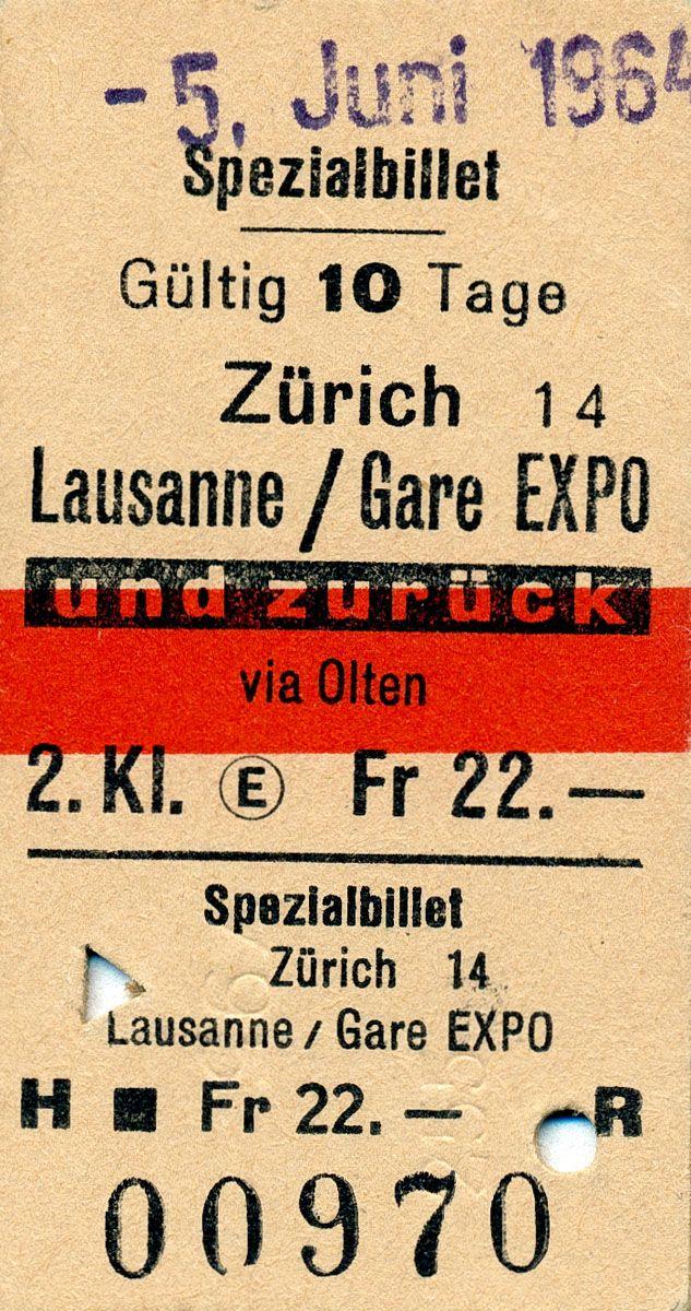 Billet de train pour l'Expo #expo64 #cff