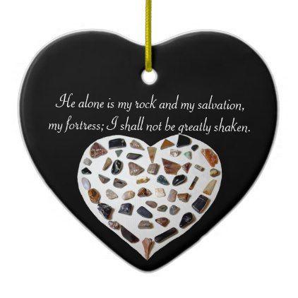Rock of My Salvation Bible Verse Black Ornament - stones diy cyo gift idea special