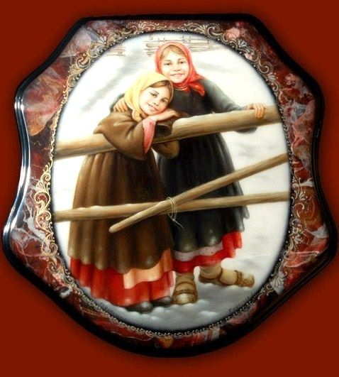 Russian lacquer miniature from the village of Fedoskino. Two smiling peasant girls.