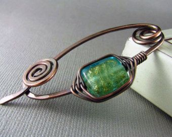 Copper Shawl Pin Scarf or Sweater Pin Fibula Wire Wrapped Jewelry Hammered Copper Brooch Copper Wire Wrap