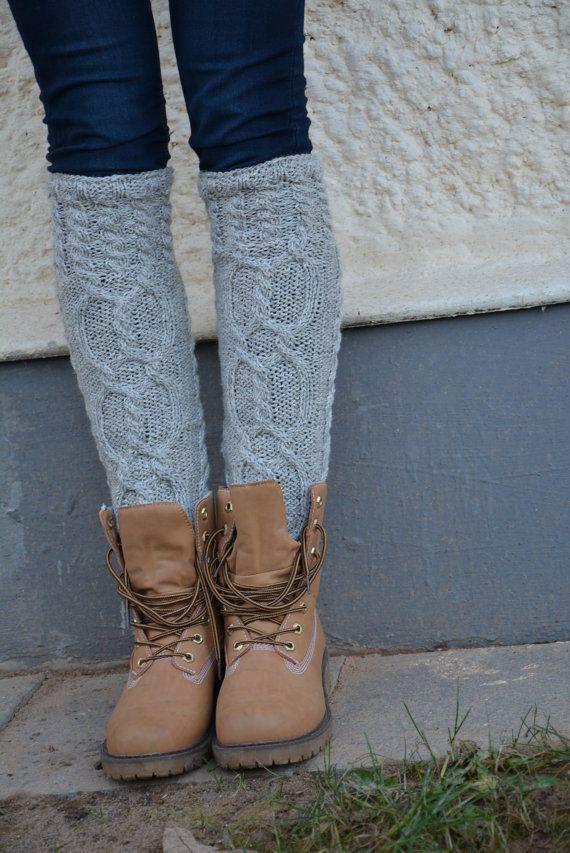 Knitted Natural Wool Socks Handmade Knee High Wool Socks