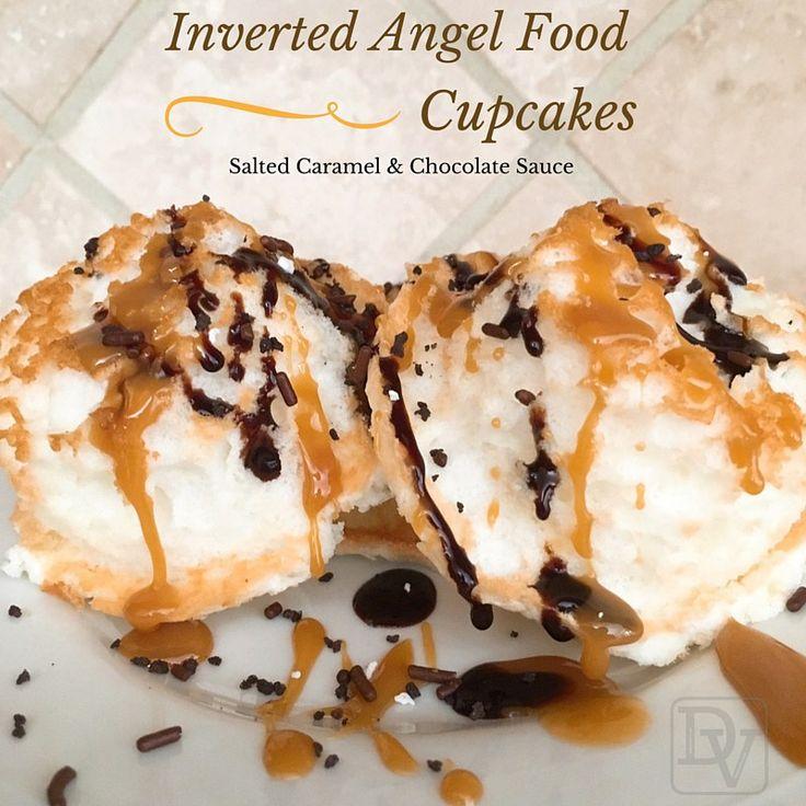 angelfood #cupcakes #invertedcupcakes #chocolatesauce # ...