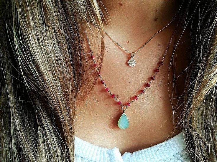 Un favorito personal de mi tienda de Etsy https://www.etsy.com/es/listing/502802643/collar-margot-rubies-drusa-plata-chapada