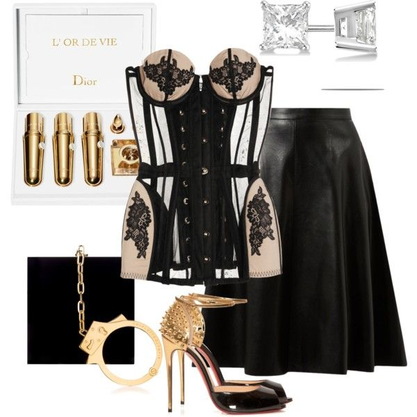 Meow...... by samanthasultana on Polyvore featuring polyvore fashion style Agent Provocateur Belle Heart Christian Louboutin Charlotte Olympia Allurez Christian Dior
